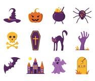 Iconos de Víspera de Todos los Santos Ejemplo del vector en estilo plano Imagen de archivo libre de regalías