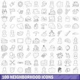 100 iconos de vecindad fijados, estilo del esquema Fotos de archivo