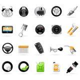 Iconos de vehículos del centro de servicio (estación del coche) stock de ilustración