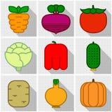 Iconos de verduras Imagen de archivo libre de regalías