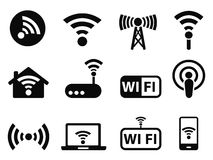 Iconos de Wifi fijados Foto de archivo libre de regalías