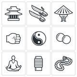 Iconos de Wing Chun Ilustración del vector Foto de archivo