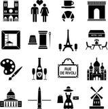 Iconos de París ilustración del vector