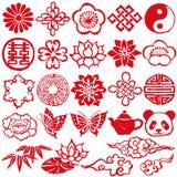 Iconos decorativos chinos ilustración del vector