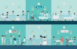 Iconos decorativos de la atención sanitaria de la enfermera fijados con los pacientes Fotos de archivo libres de regalías