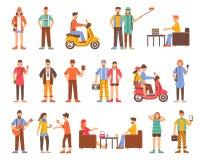 Iconos decorativos de la gente del inconformista fijados ilustración del vector