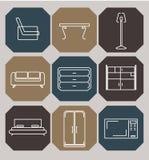Iconos decorativos de los muebles fijados Ilustración del vector Fotografía de archivo