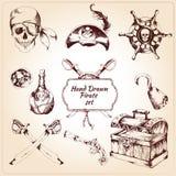 Iconos decorativos de los piratas fijados Imágenes de archivo libres de regalías
