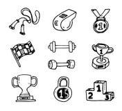 Iconos decorativos del bosquejo del ejercicio del deporte de la dieta del levantamiento de pesas de la aptitud ilustración del vector