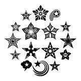 Iconos decorativos fijados, estilo simple de las estrellas Imágenes de archivo libres de regalías