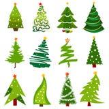 Iconos del árbol de navidad Fotos de archivo libres de regalías