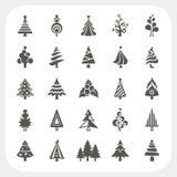Iconos del árbol de navidad fijados Fotos de archivo