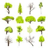 Iconos del árbol del bosquejo fijados stock de ilustración