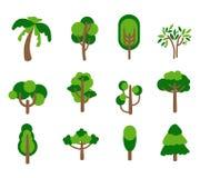 Iconos del árbol fijados Fotos de archivo