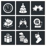 Iconos del Año Nuevo fijados Imagen de archivo libre de regalías