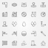 Iconos del abastecimiento de agua ilustración del vector