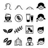 Iconos del acné Imagen de archivo libre de regalías
