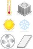 Iconos del acondicionador de aire stock de ilustración