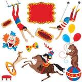 Iconos del acto de circo Fotografía de archivo libre de regalías