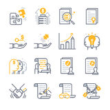 Iconos del acuerdo de contrato del negocio stock de ilustración