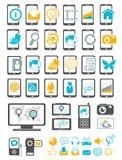 Iconos del adminículo moderno y del dispositivo móvil Fotos de archivo