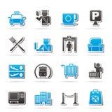 Iconos del aeropuerto, del viaje y del transporte Foto de archivo libre de regalías