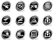 Iconos del aeropuerto fijados Foto de archivo