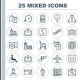Iconos del aeropuerto fijados Colección de accesibilidad, dinero Trasnfer, presentadora And Other Elements También incluye símbol libre illustration