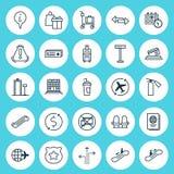 Iconos del aeropuerto fijados Colección de cruce, de butaca, de vuelo mundial y de otros elementos También incluye símbolos tal c Imagenes de archivo