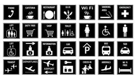Iconos del aeropuerto fijados Ilustración del vector Imagen de archivo