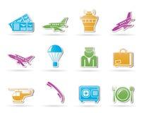 Iconos del aeropuerto y del recorrido Fotografía de archivo