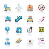 Iconos del aeropuerto y del transporte Fotografía de archivo libre de regalías