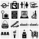 Iconos del vector del aeropuerto fijados. Iconos elegantes de la serie y Fotos de archivo