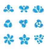 Iconos del agua azul de la naturaleza stock de ilustración