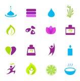 Iconos del agua, de la salud, de la naturaleza y del zen - color de rosa Foto de archivo