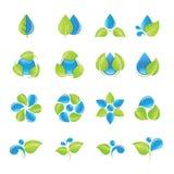 Iconos del agua y de las hojas fijados