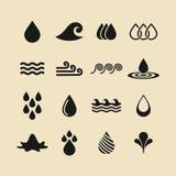 Iconos del agua y del líquido del vector fijados negro Ilustración del vector stock de ilustración