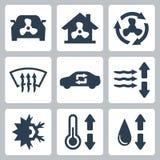 Iconos del aire acondicionado del vector Imagen de archivo libre de regalías