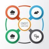 Iconos del aire fijados Colección de brisa, lluvioso, de tiempo y de otros elementos También incluye símbolos tal como las nubes, ilustración del vector