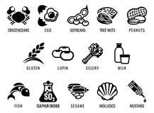 Iconos del alergénico de la comida stock de ilustración