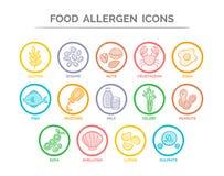 Iconos del alergénico de la comida fijados Fotos de archivo