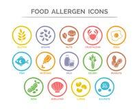 Iconos del alergénico de la comida fijados Fotos de archivo libres de regalías