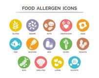 Iconos del alergénico de la comida fijados Foto de archivo libre de regalías