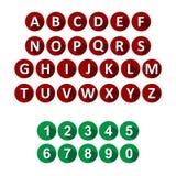 Iconos del alfabeto y de los números Fotografía de archivo