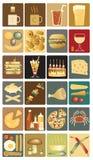 Iconos del alimento Foto de archivo libre de regalías