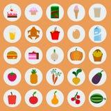 Iconos del alimento Fotografía de archivo libre de regalías
