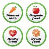 Iconos del alimento biológico, frescos y naturales de los productos encendido Fotografía de archivo
