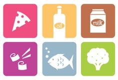 Iconos del alimento colorido o conjunto de elementos modernos. stock de ilustración