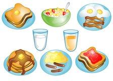 Iconos del alimento de desayuno Imágenes de archivo libres de regalías