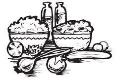 Iconos del alimento de Grecia Stock de ilustración